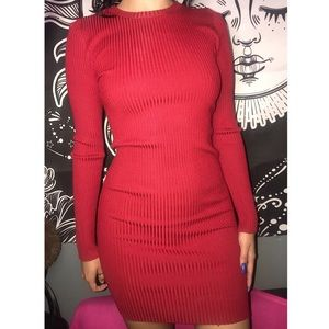 Red long sleeve basic dress